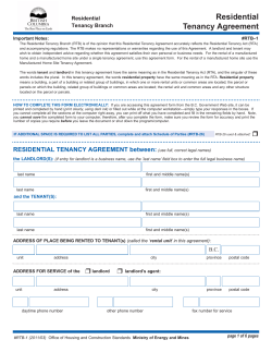 Residential Tenancy Agreement Tenancy Branch