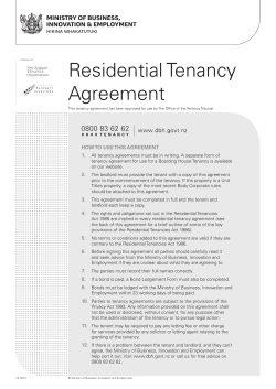 Residential Tenancy Agreement HOW TO  USE THIS AGREEMENT 1.
