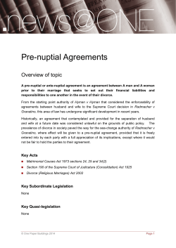 Pre-nuptial Agreements Overview of topic