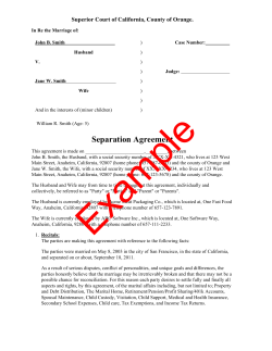 Separation Agreement Superior Court of California, County of Orange.