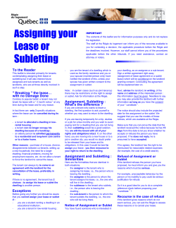 Assigning your Lease or Subletting