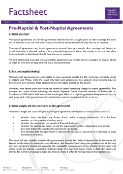Factsheet Pre-Nuptial & Post-Nuptial Agreements