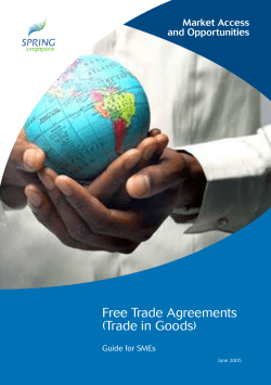 Free Trade Agreements (Trade in Goods) Market Access and Opportunities