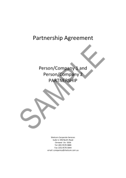 Partnership Agreement    Person/Company 1 and   Person/Company 2