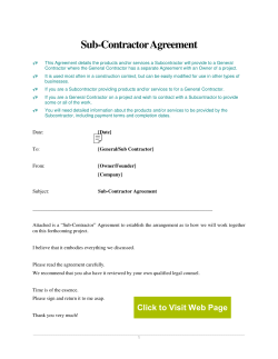 Sub-Contractor Agreement