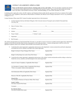 CONTRACT AND AGREEMENT APPROVAL FORM