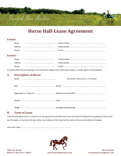 Horse Half-Lease Agreement Lessor:
