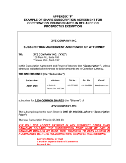 "APPENDIX ""F"" EXAMPLE OF SHARE SUBSCRIPTION AGREEMENT FOR PROSPECTUS EXEMPTION"