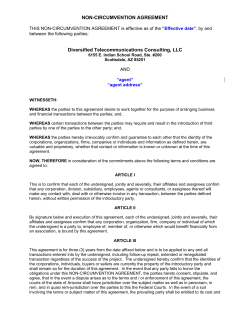 NON-CIRCUMVENTION AGREEMENT  Diversified Telecommunications Consulting, LLC