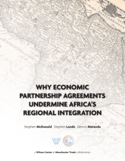WHY ECONOMIC PARTNERSHIP AGREEMENTS UNDERMINE AFRICA'S REGIONAL INTEGRATION