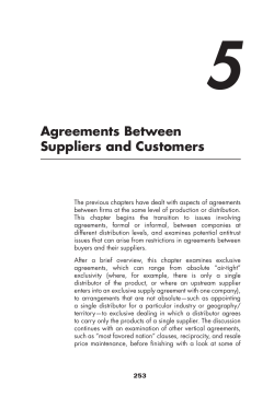 5 Agreements Between Suppliers and Customers