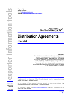 Distribution Agreements  checklist Prepared By: