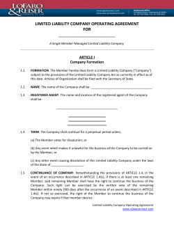 LIMITED LIABILITY COMPANY OPERATING AGREEMENT FOR  _________________________