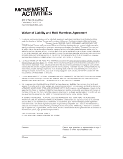 Waiver of Liability and Hold Harmless Agreement Columbus, OH 43215 movementactivities.com