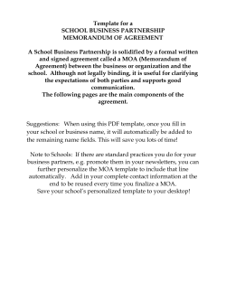 Template for a SCHOOL BUSINESS PARTNERSHIP MEMORANDUM OF AGREEMENT