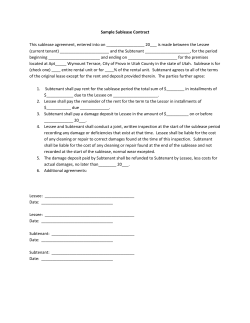 Sample Sublease Contract