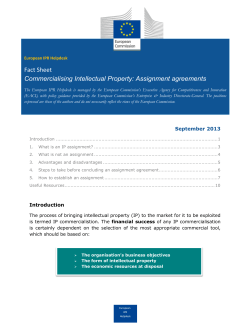 Fact Sheet Commercialising Intellectual Property: Assignment agreements