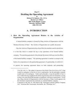 Drafting the Operating Agreement Part V