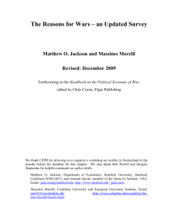 The Reasons for Wars – an Updated Survey Revised: December 2009
