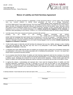 Waiver of Liability and Hold Harmless Agreement
