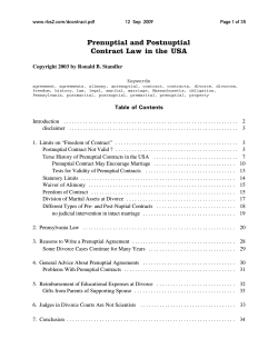 Prenuptial and Postnuptial Contract Law in the USA www.rbs2.com/dcontract.pdf