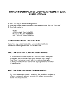 IBM CONFIDENTIAL DISCLOSURE AGREEMENT (CDA) INSTRUCTIONS