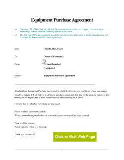 Equipment Purchase Agreement