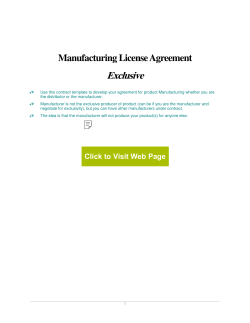 Exclusive  Manufacturing License Agreement