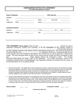 HOMEOWNER/CONTRACTOR AGREEMENT