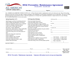HVAC Preventive  Maintenance Agreement  256-882-8992 256-498-2630