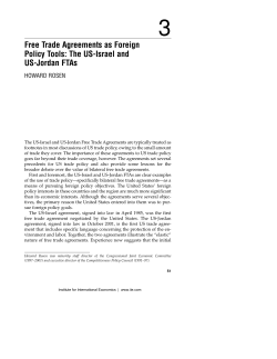 3 Free Trade Agreements as Foreign Policy Tools: The US-Israel and US-Jordan FTAs