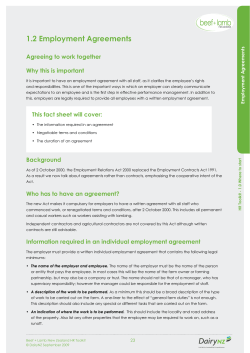 1.2 Employment Agreements Agreeing to work together Why this is important ts