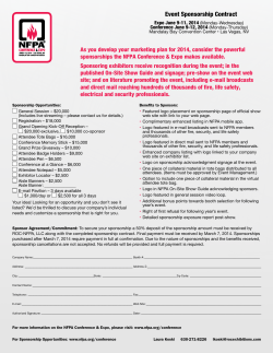 Event Sponsorship Contract n Expo June 9-11, 2014 Conference June 9-12, 2014