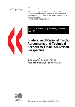 et al. Agreements and Technical Barriers to Trade: An African OECD Publishing.