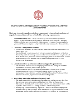 STANFORD UNIVERSITY REQUIREMENTS FOR FACULTY CONSULTING ACTIVITIES AND AGREEMENTS