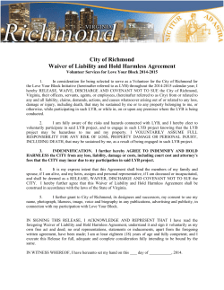 City of Richmond Waiver of Liability and Hold Harmless Agreement 1