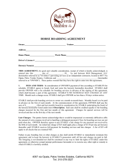 HORSE BOARDING AGREEMENT