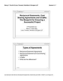 Reciprocal Easements, Cost Sharing Agreements and CC&Rs: The Blueprint for Ensuring a