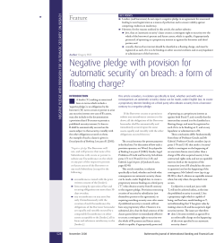 Negative pledge with provision for fl oating charge? Feature