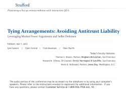 Tying Arrangements: Avoiding Antitrust Liability