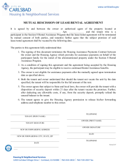 MUTUAL RESCISSION OF LEASE/RENTAL AGREEMENT