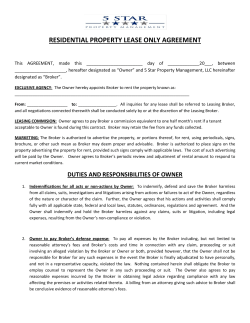 RESIDENTIAL PROPERTY LEASE ONLY AGREEMENT