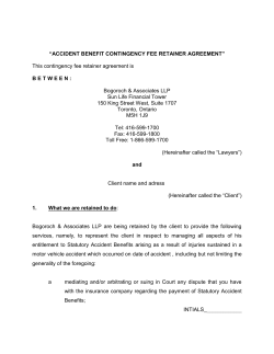 """ACCIDENT BENEFIT CONTINGENCY FEE RETAINER AGREEMENT"""