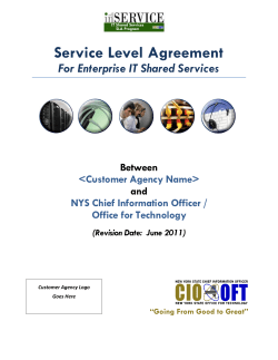 Service Level Agreement For Enterprise IT Shared Services  Between