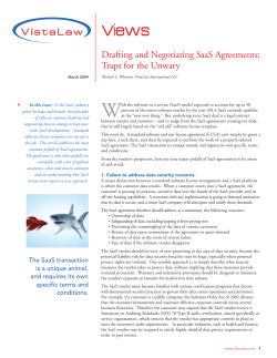 W Views Drafting and Negotiating SaaS Agreements: Traps for the Unwary