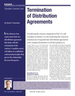 Termination of Distribution Agreements I