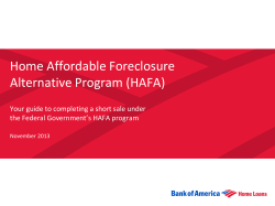 Home Affordable Foreclosure Alternative Program (HAFA)