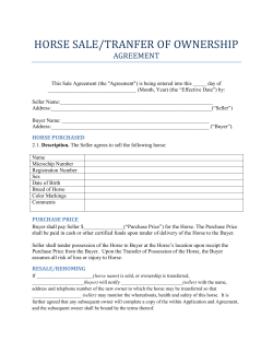 HORSE SALE/TRANFER OF OWNERSHIP  AGREEMENT