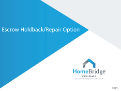 Escrow Holdback/Repair Option 01/02/14