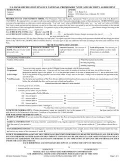 U.S. BANK RECREATION FINANCE NATIONAL PROMISSORY NOTE AND SECURITY AGREEMENT